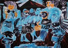 Dawid Polony, LENNOX, MIKE JA I DON 2013 olej, marker, papier 100cm x-140cm