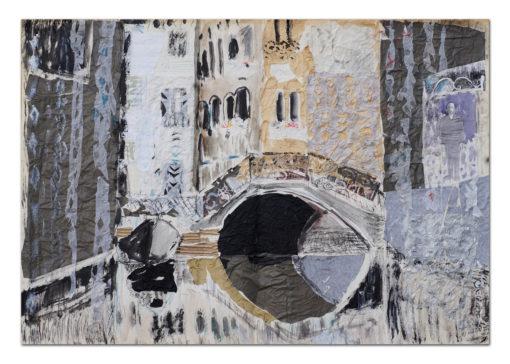 """Iwona Góraj, ŚWIT W SANTA MARTA"""", collage, papier, 70 x 100 cm, 2015"""